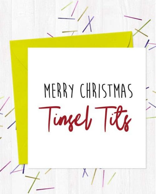 Merry Christmas Tinsel Tits - Christmas Card