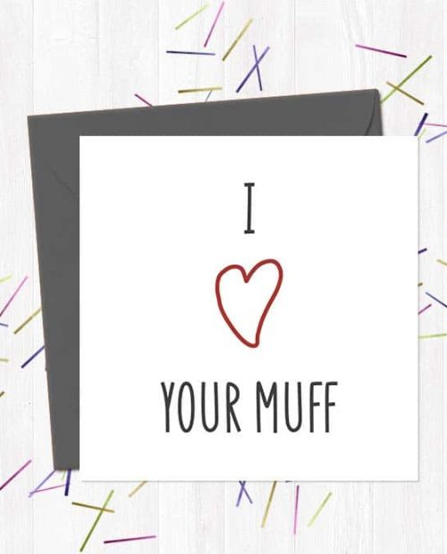 I heart your muff - Valentine's Day Card