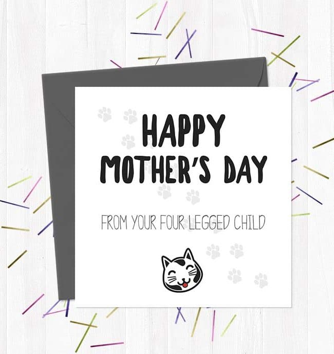 Happy Mother's Day from your four legged child (Cat) - Mother's Day Card