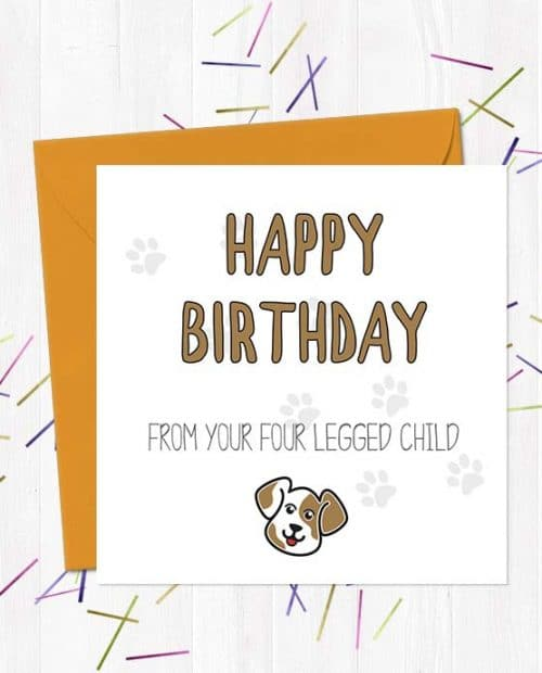 Happy Birthday from your four legged child (Dog) - Birthday Card