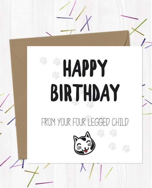 Happy Birthday Day from your four legged child (Cat) - Birthday Card